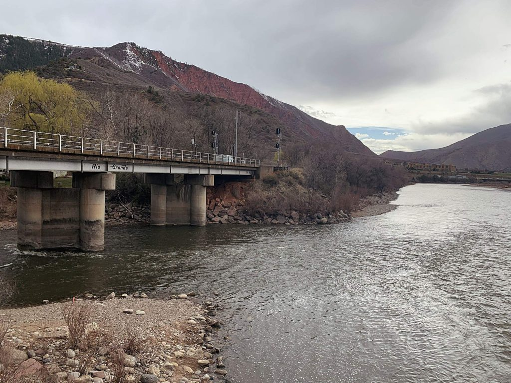 The Roaring Fork River (left) joins with the Colorado River in downtown Glenwood Springs. Snowpack in the Roaring Fork basin is slight above normal, but April streamflows are predicted to be just 85% of normal.