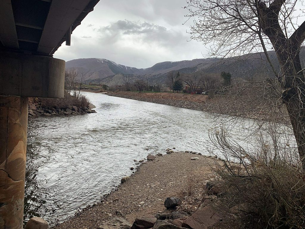 The Roaring Fork River (left) empties into the Colorado River in downtown Glenwood Springs. Streamflows at this location are expected to be 85% of normal for the month of April.