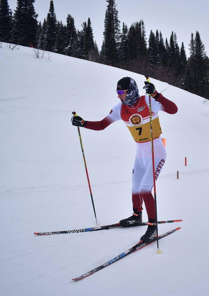 Denver University skier and Steamboat Springs native Evan Barbier competes in the Spencer James Nelson Memorial Invitational freestyle race at Howelsen Hill on Saturday, Jan. 18.