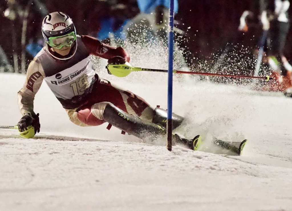 DU's Jett Seymour, a Steamboat Springs skier, cuts down Howelsen Hill during the men's slalom race at the 2018 NCAA Ski Championships in Steamboat Springs.