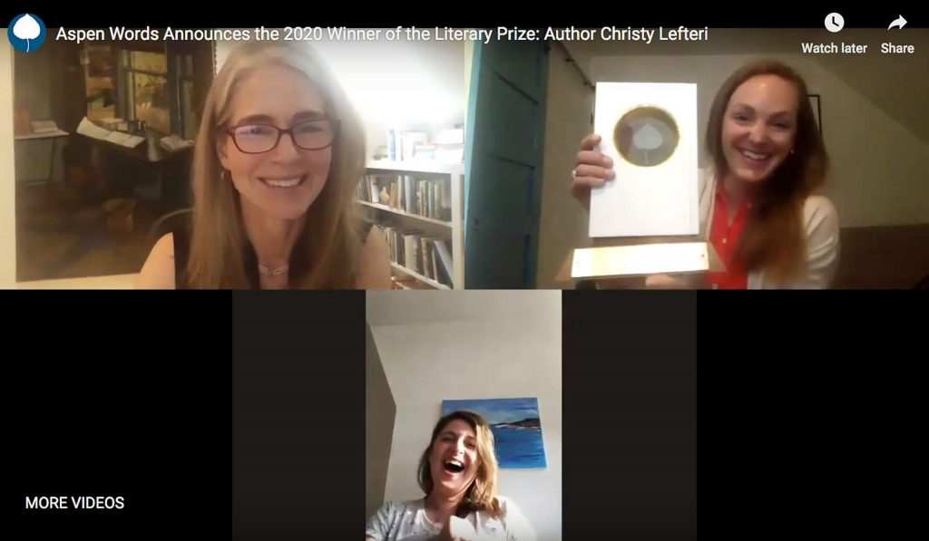 Novelist Christy Lefteri was presented the Aspen Words Literary Prize in a virtual ceremony Thursday afternoon. Clockwise from top left: Aspen Words executive director Adrienne Brodeur, associate director Caroline Tory and Lefteri.