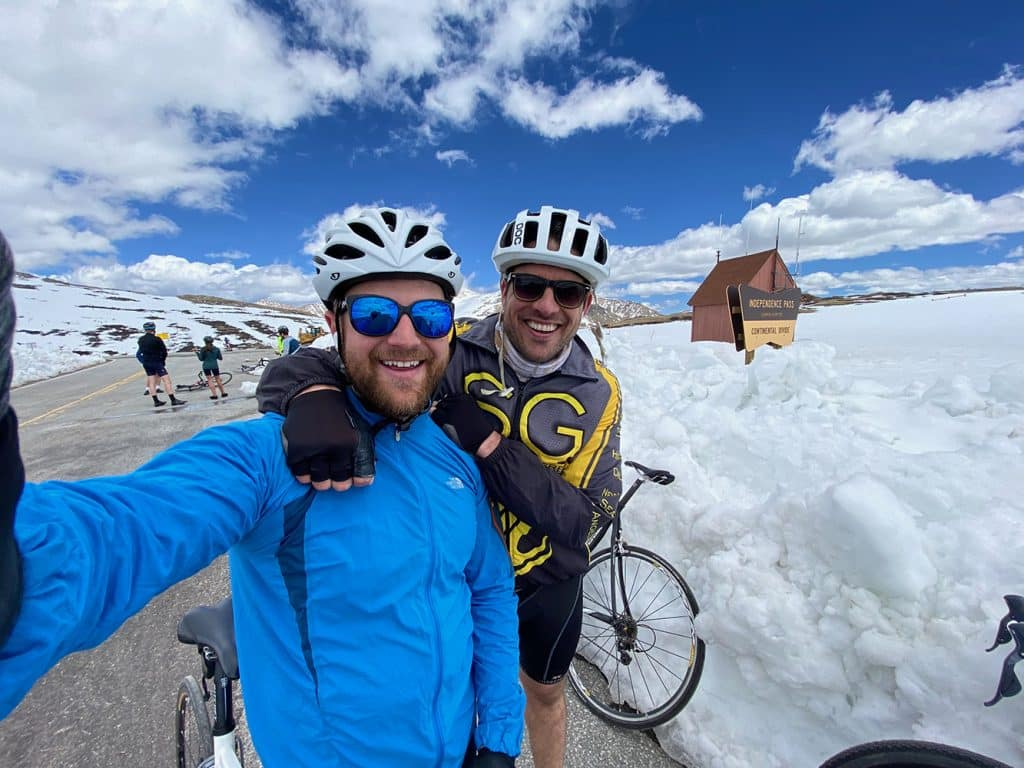 Gordon Bronson with buddy Matt Shifrin for his birthday ride up Independence Pass.