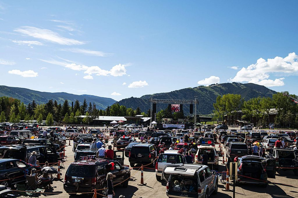 Cars socially distance while the Aspen High School graduation ceremony begins at Buttermilk on Saturday, May 30, 2020. (Kelsey Brunner/The Aspen Times)