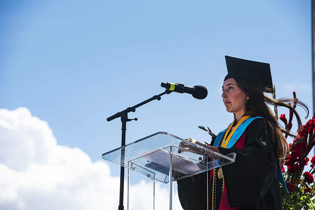 Kat Goralka gives her salutatorian speech during Aspen High School's graduation ceremony at Buttermilk on Saturday, May 30, 2020. (Kelsey Brunner/The Aspen Times)