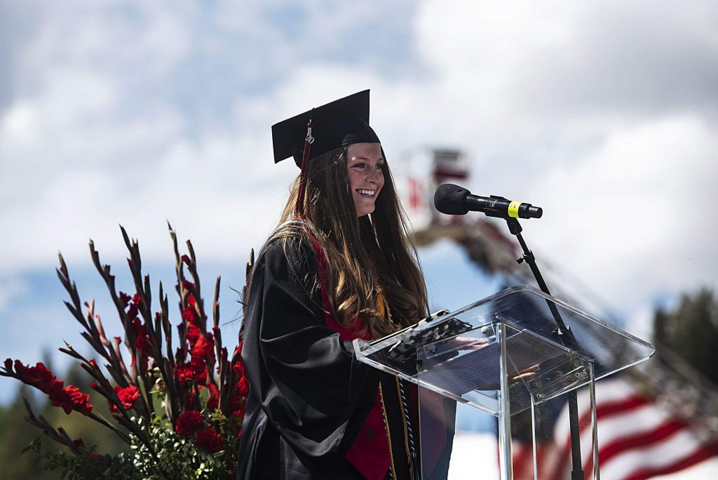 Maxine Mellin gives her salutatorian speech during Aspen High School's graduation ceremony at Buttermilk on Saturday, May 30, 2020. (Kelsey Brunner/The Aspen Times)