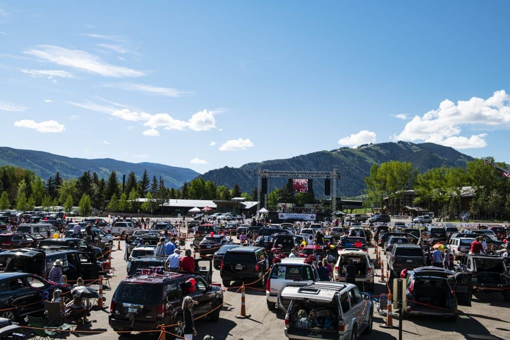 Cars socially distance while the Aspen High School graduation ceremony begins at Buttermilk on Saturday, May 30, 2020.