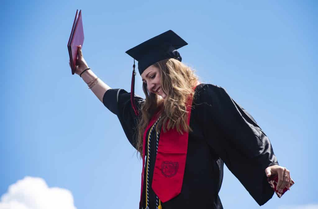 Graduate Molly Miller crosses the stage during Aspen High School's graduation ceremony at Buttermilk on Saturday, May 30, 2020.