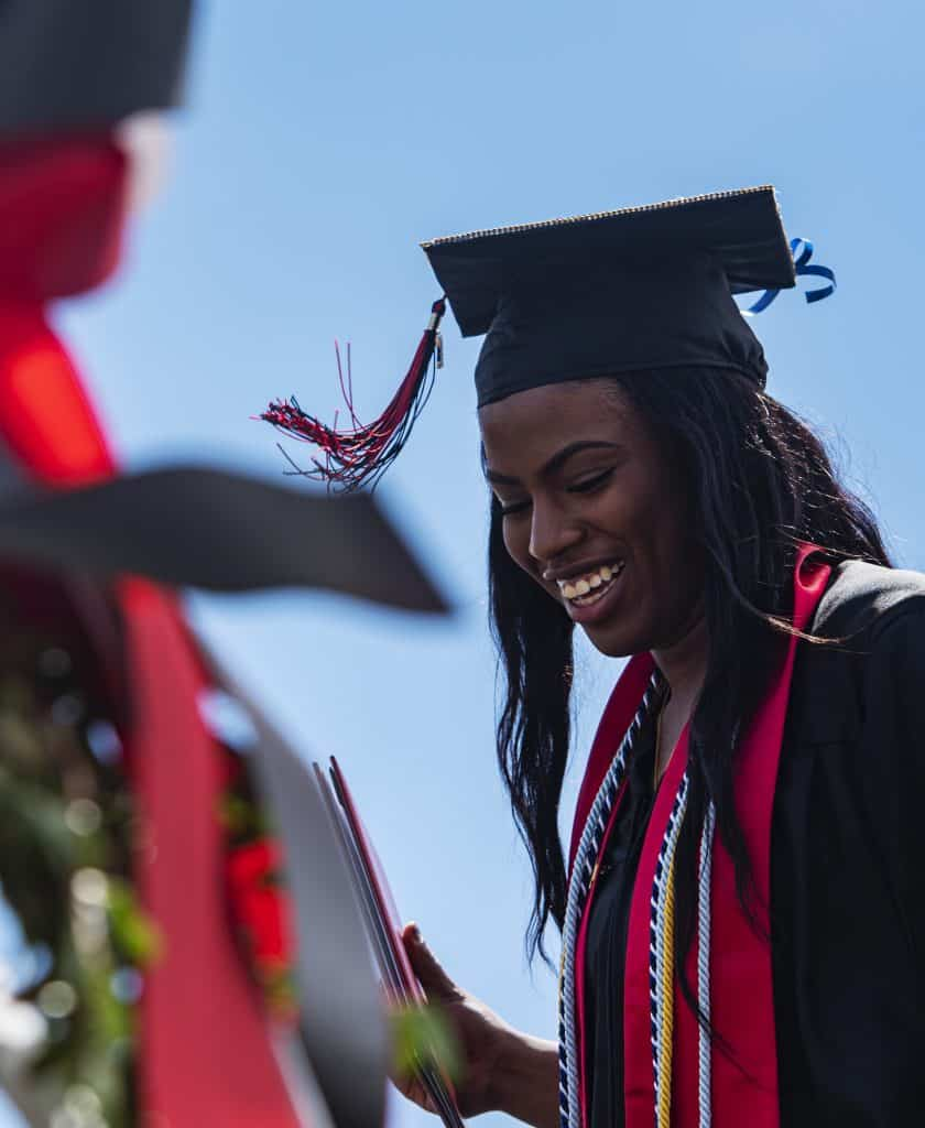 Climary Sanchez crosses the stage during Aspen High School's graduation ceremony at Buttermilk on Saturday, May 30, 2020.