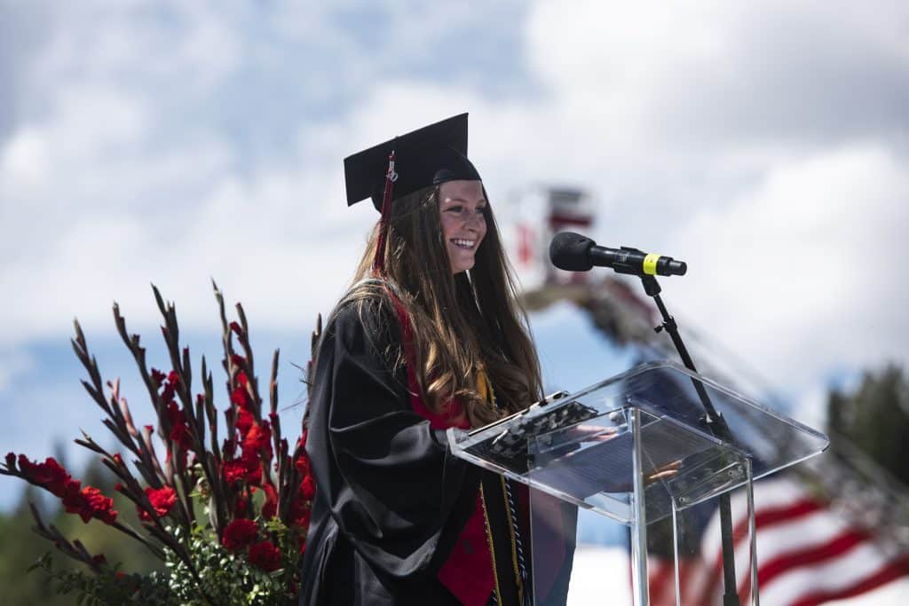 Maxine Mellin gives her salutatorian speech during Aspen High School's graduation ceremony at Buttermilk on Saturday, May 30, 2020.