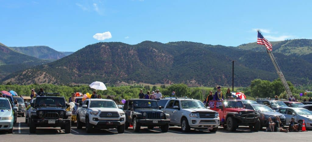 Families watch the Basalt High School Class of 2020 graduation ceremony from their vehicles on May 30, 2020.