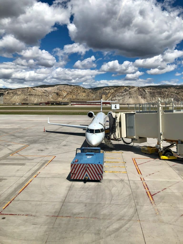 "American Airlines SkyWest Flight 2985 uses a Bombardier CRJ700 for its temporary ""mountain hopper"" flight from Dallas to Eagle, seen here, where it continues to Aspen and Montrose before returning to Dallas."