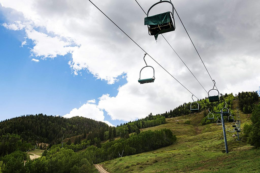 The 1A lift sits immobile on Aspen Mountain on Friday, May 29, 2020. (Kelsey Brunner/The Aspen Times)