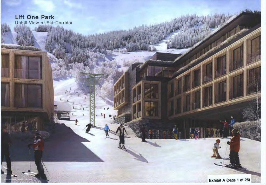 One of the renderings of the Lift One Park at the base of the western side of Aspen Mountain as part of the Lift One development.