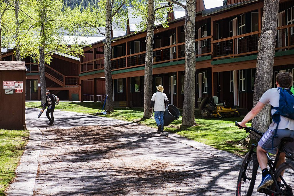 People mill around the Marolt Ranch Housing in Aspen on Monday, May 18, 2020.
