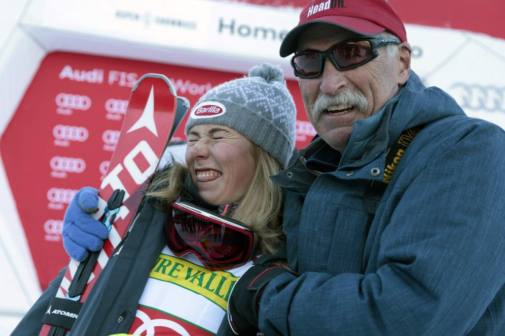 United States' Mikaela Shiffrin poses with her father Jeff Shiffrin after a women's World Cup slalom ski race in Aspen, Colo. When she's not winning races, two-time Olympic champion Mikaela Shiffrin unplugs by singing and playing guitar. Music was always a bond she shared with her late father, Jeff, who died on Feb. 2 after an accident at his home in Edwards, Colorado. Now music has become her escape.