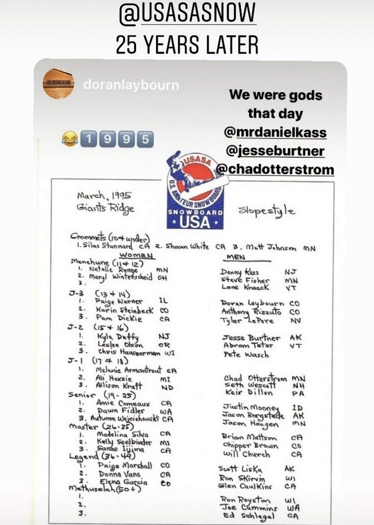 In this 1995 United States of America Snowboard Association Nationals start list, shared to Instagram by Doran Laybourn last week, Summit County snowboard legend Chad Otterstrom is listed as the slopestyle winner along with future snowboard stars such as Laybourn, Danny Kass, Steve Fisher and Shaun White.