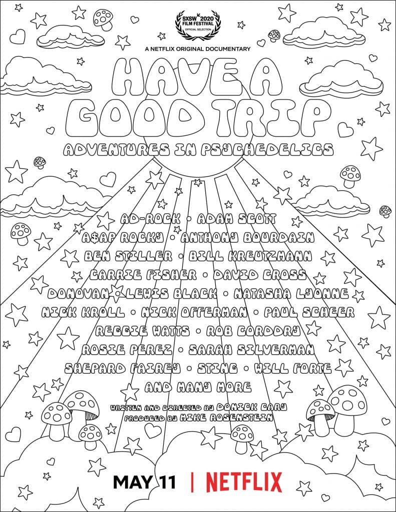 """The downloadable, coloring book page version of the """"Have a Good Trip: Adventures in Psychedelics"""" official poster."""