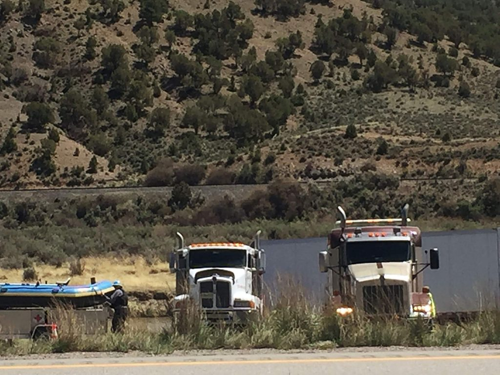 One lane of eastbound I-70 near Dotsero was closed for several hours Friday as heavy wreckers worked to pull the truck out of the river.