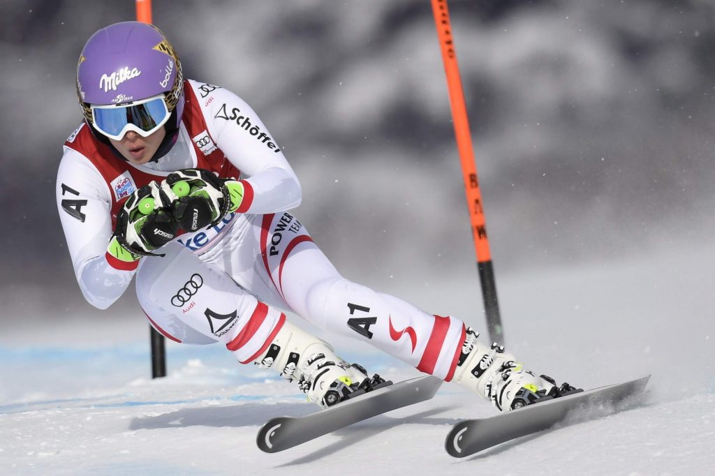 FILE - In this Nov. 30, 2017, file photo, Anna Veith, of Austria, skis down the course during a training run for the women's World Cup downhill ski race in Lake Louise, Alberta. Veith, who twice returned to the top from serious knee injuries but called it a career a year after blowing out her knee for the third time, announced her retirement Saturday, May 23, 2020. (Frank Gunn/The Canadian Press via AP, File)