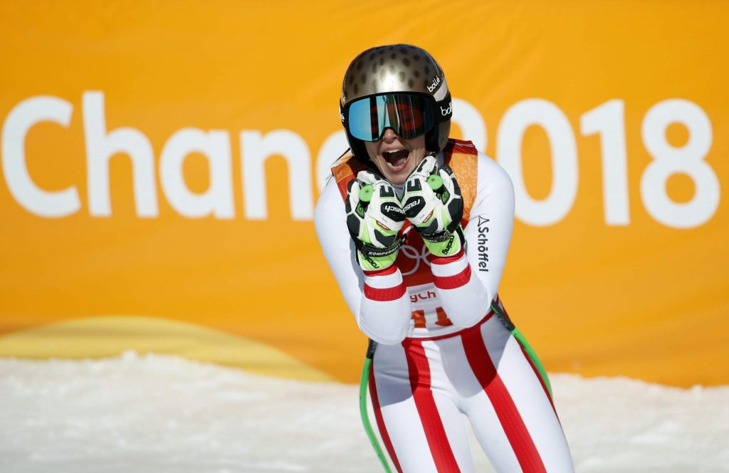 FILE - In this Feb. 17, 2018, file photo Austria's AnnaVeith reacts in the finish area after competing in the women's super-G at the 2018 Winter Olympics in Jeongseon, South Korea. Veith, who twice returned to the top from serious knee injuries but called it a career a year after blowing out her knee for the third time, announced her retirement Saturday, May 23, 2020. (AP Photo/Christophe Ena, File)