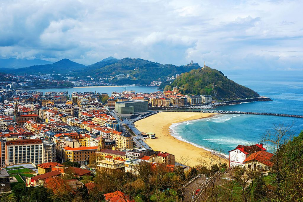 San Sebastian - Donostia city, Basque country, Spain, view of the Zurriola beach, Urgull mount, La Concha bay, surrounding Pyrenees mountains and Atlantic ocean