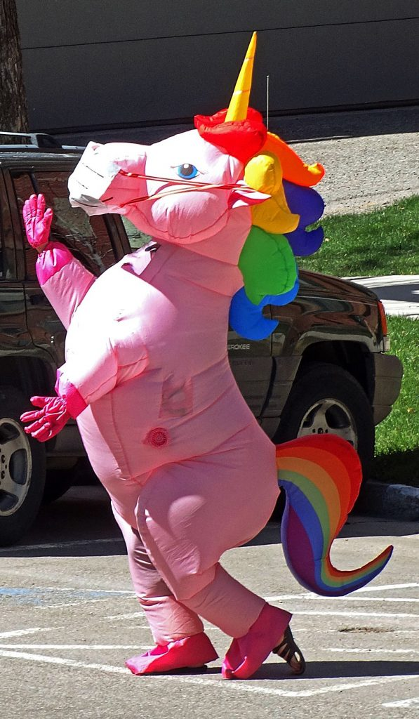 This unicorn was spotted in March, near the St. Mary Catholic Church on Main Street, for no apparent reasons other than to amuse onlookers and dance.