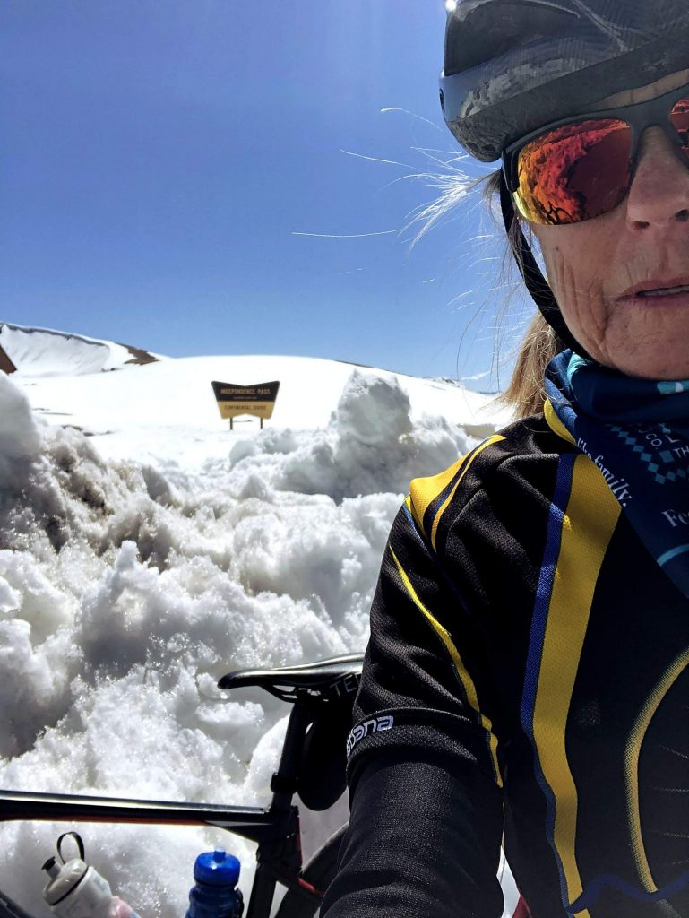 Cyclist Susan Capiel of Aspen beat the crowds before Independence Pass opens to motorists June 1 by riding to the top on Thursday and getting this selfie.