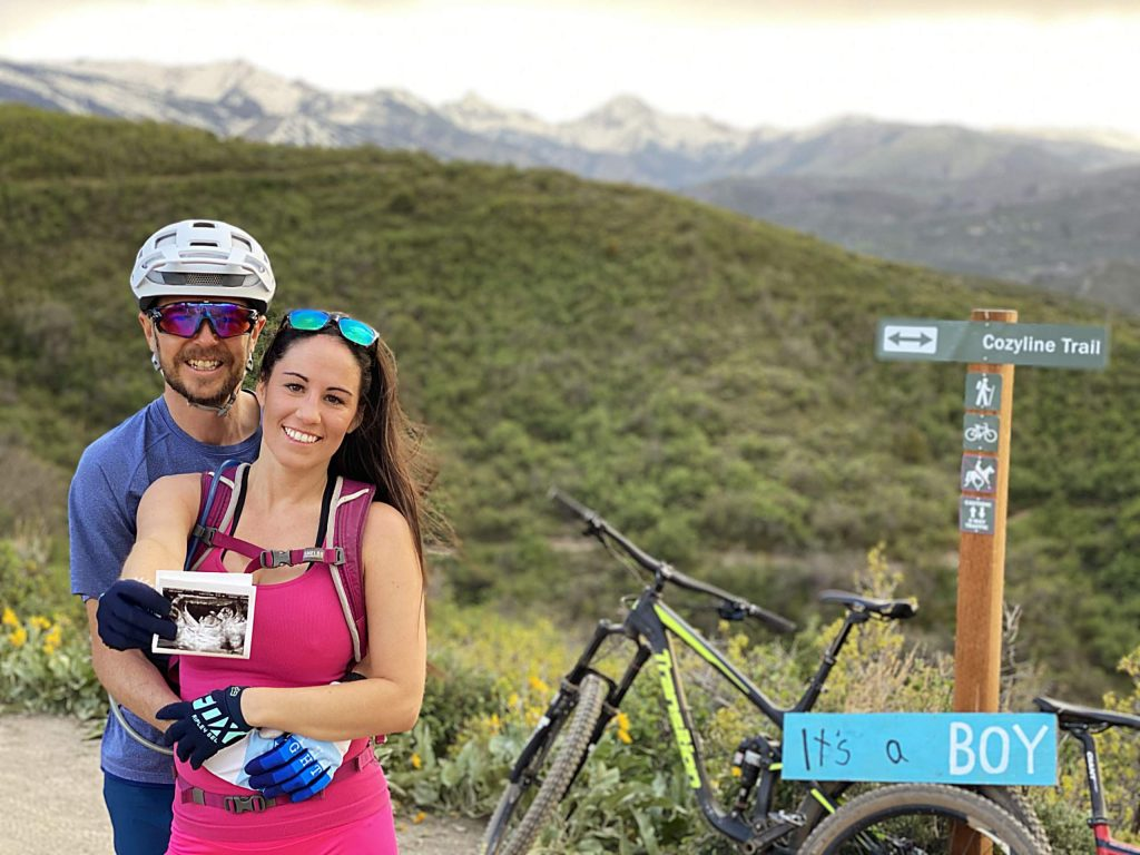 Aspen residents Ryan and Stephanie Farrell took a ride to the top of Airline Trail on Sky Mountain Park on May 19 to announce the gender of their baby, who is due on Thanksgiving.