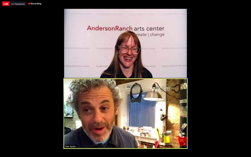 Artist Tom Sachs with Anderson Ranch's Liz Ferrill during this week's VIrtual Art Salon.
