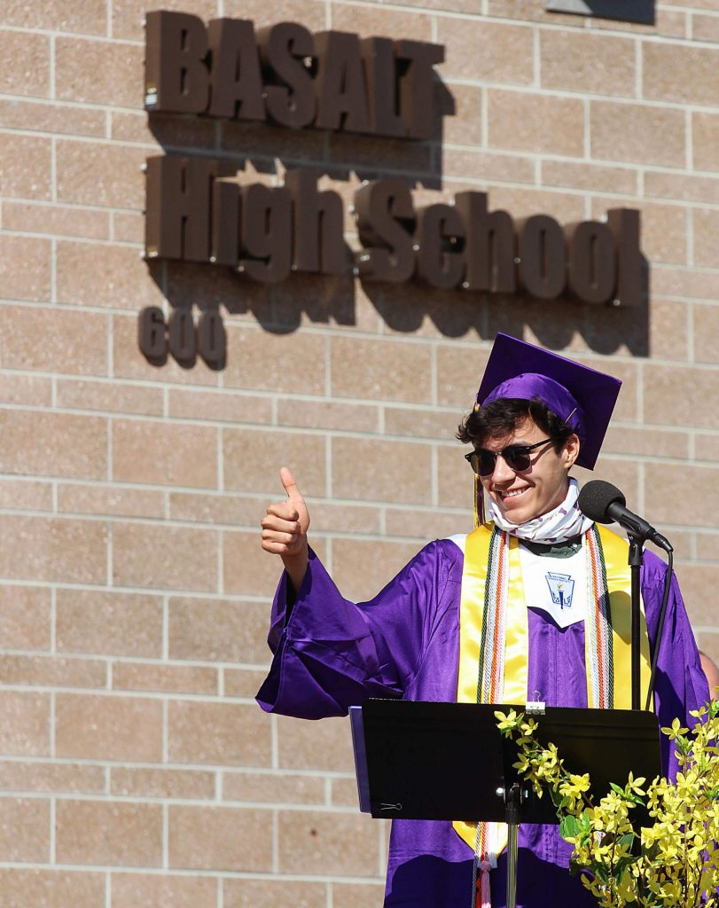 James Blazier gives a thumbs up during the Basalt High School Class of 2020 graduation ceremony on May 30, 2020. (Maddie Vincent/The Aspen Times).
