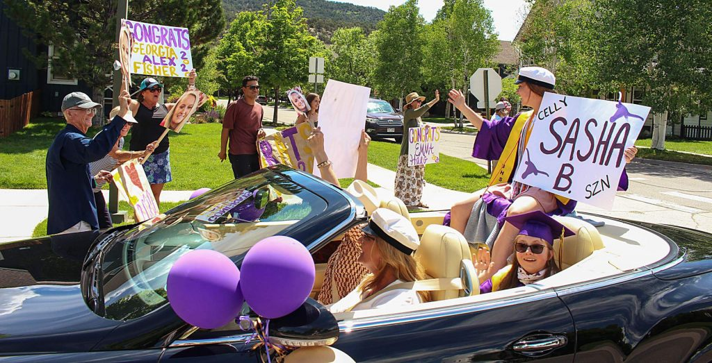 Basalt seniors celebrate after their graduation cermeony by driving in a car parade on May 30, 2020. (Maddie Vincent/The Aspen Times).