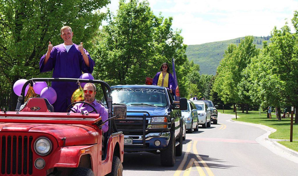 The Basalt High School Class of 2020 celebratory car parade makes its way through the Willits neighborhood on May 30, 2020. (Maddie Vincent/The Aspen Times).