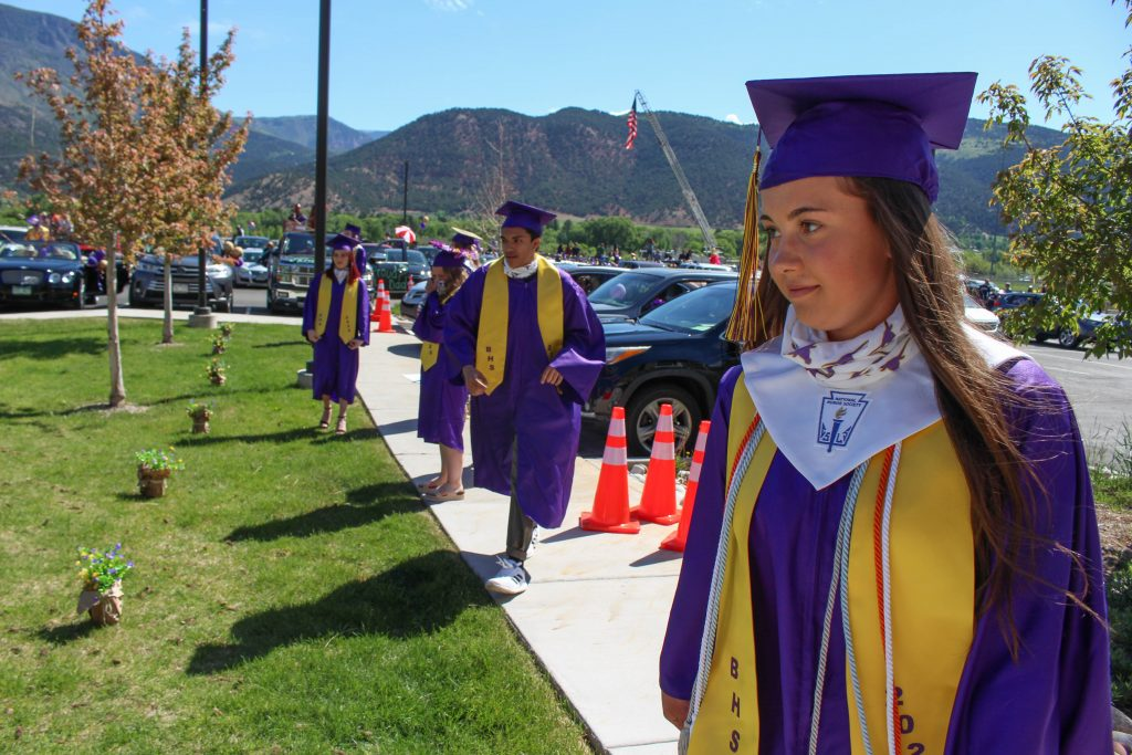 Basalt seniors line up 6 feet apart to get their diplomas on May 30, 2020.