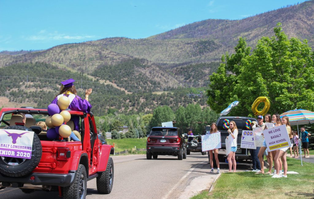 After the graduation ceremony, Basalt High School's Class of 2020 drove through Basalt and El Jebel for a celebratory car parade on May 30, 2020.
