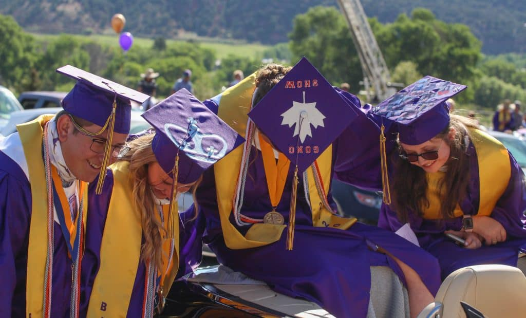 Basalt High School Class of 2020 graduates pose for a photo of the tops of their caps on May 30, 2020.
