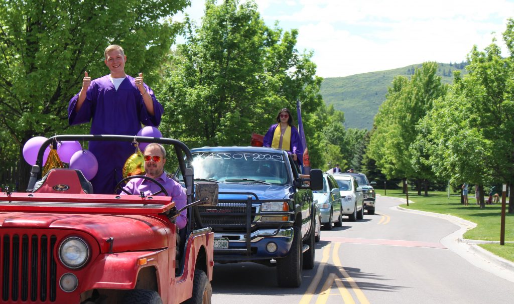 The Basalt High School Class of 2020 celebratory car parade makes its way through the Willits neighborhood on May 30, 2020.
