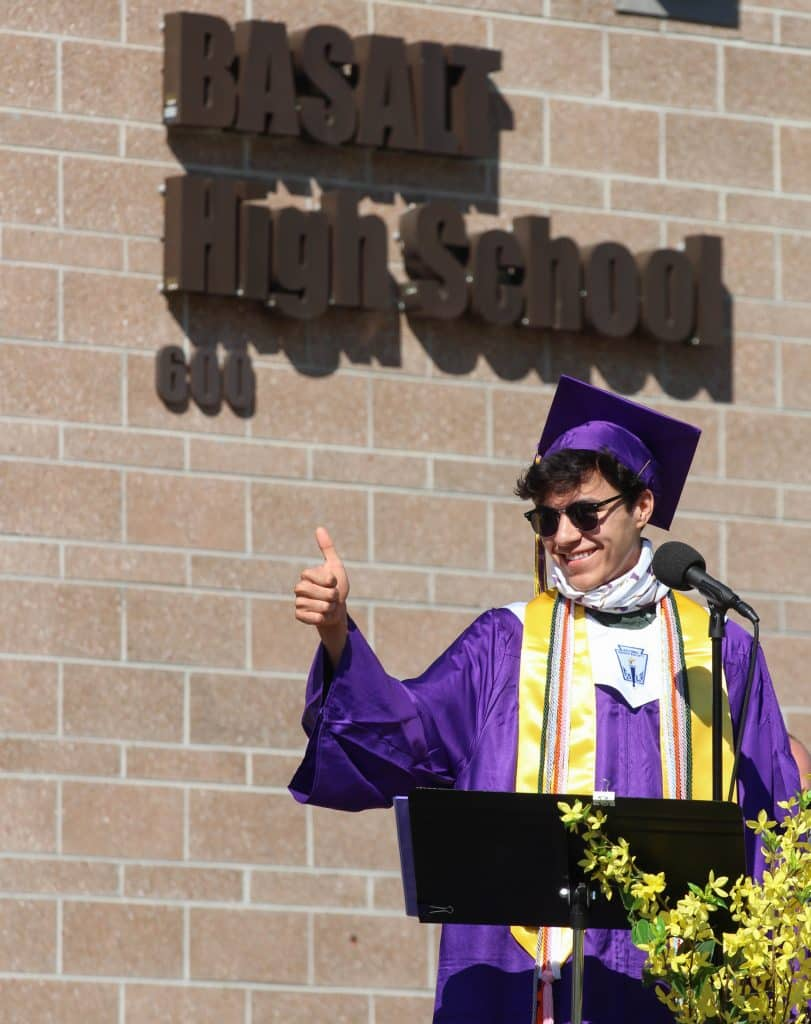 James Blazier gives a thumbs up during the Basalt High School Class of 2020 graduation ceremony on May 30, 2020.