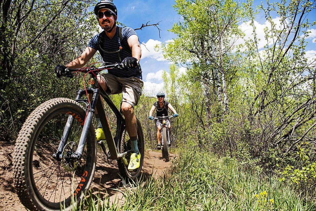 Mountain bikers explore Airline Trail in Sky Mountain Park on Tuesday, May 19, 2020. (Kelsey Brunner/The Aspen Times)
