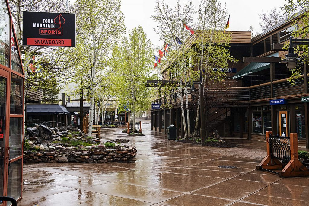 Businesses remain closed on the Snowmass Village Mall on Monday, May 11, 2020. (Kelsey Brunner/Snowmass Sun)