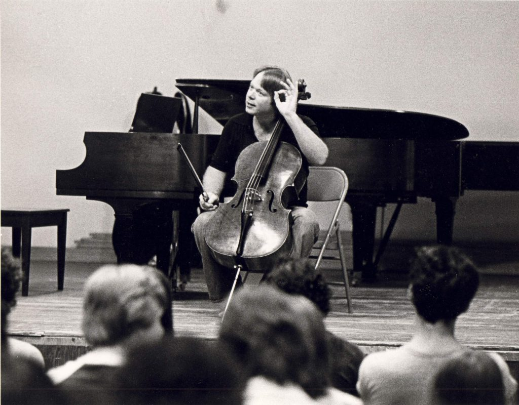 Cellist Lynn Harrell performs in 1979 inside the former Bayer-Benedict Music Tent in Aspen.