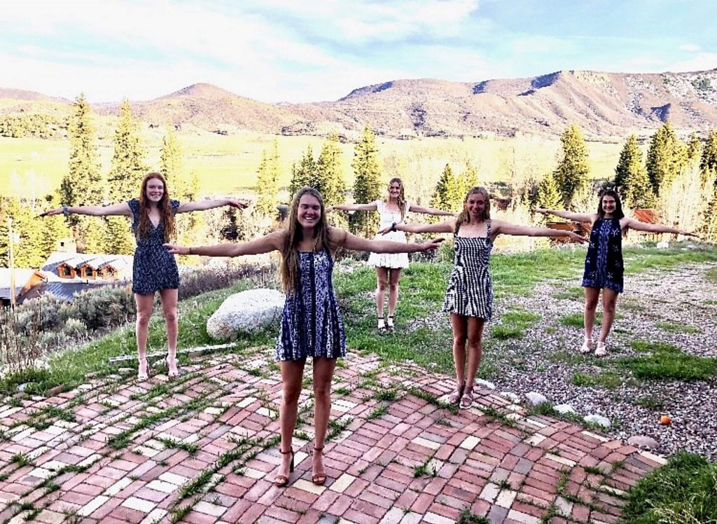 Seniors (from left to right) Maeve McGuire, Payton Curley, Hayley Heinecken, Lauren Fox, and Kat Goralka celebrate the 18th birthday from a safe distance.