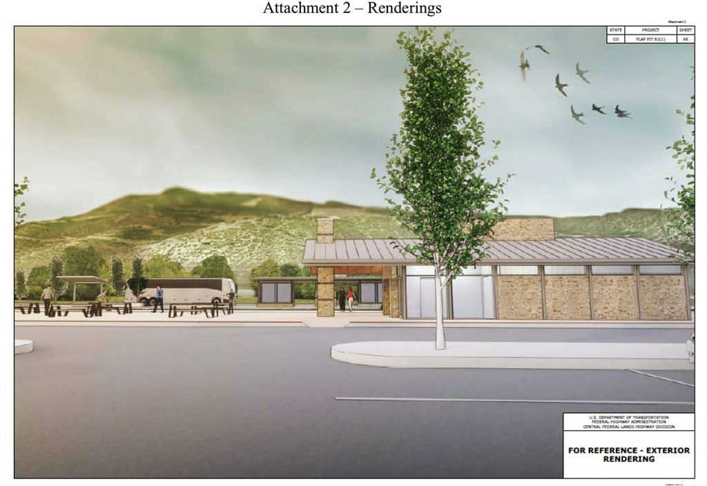 A rendering of the new permanent restroom facility and flex space planned at the Brush Creek Park and Ride off of Highway 82.