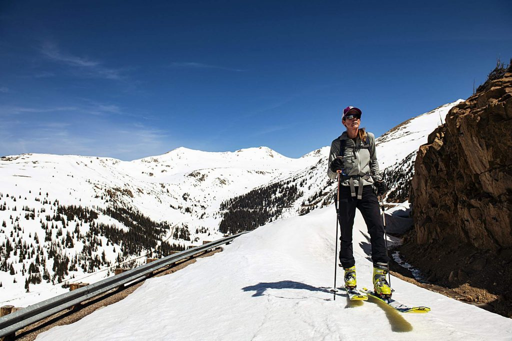 Independence Pass Foundation executive director Karin Teague skins up the road towards the summit on Tuesday, May 5, 2020.