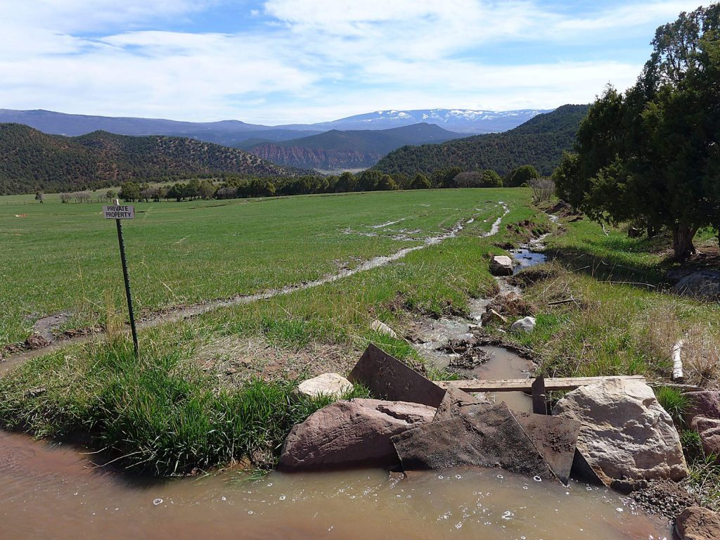 Water from Four Mile Creek irrigates land on Crystal River Ranch off of Dry Park Road above Carbondale. Ranch owner Sue Anschutz-Rodgers has told the state she is making progress toward building two dams and reservoirs on the property.