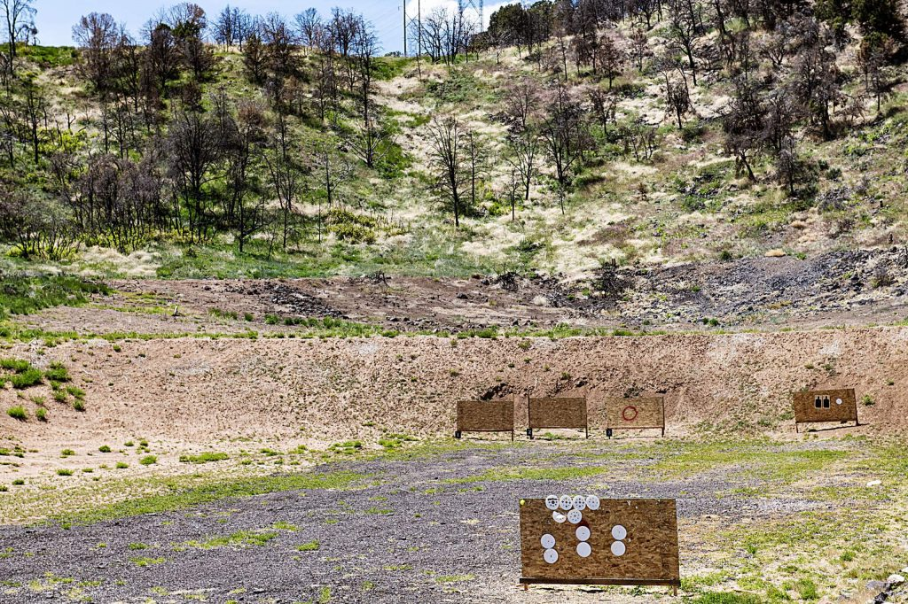 Burned trees surround the Basalt Shooting Range on Thursday, May 28, 2020. (Kelsey Brunner/The Aspen Times). The Lake Christine Fire broke out at the range on July 3, 2018.