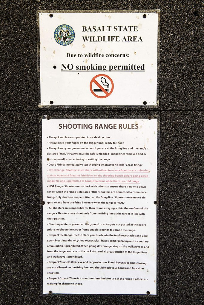 Signs signify safety rules at the Basalt shooting range on Thursday, May 28, 2020. (Kelsey Brunner/The Aspen Times)