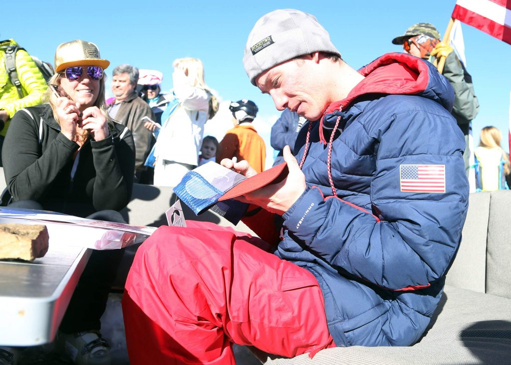 Halfpipe skier Alex Ferreira signs autographs on top of Aspen Mountain in 2018, only weeks after winning Olympic silver at the 2018 Games in South Korea.