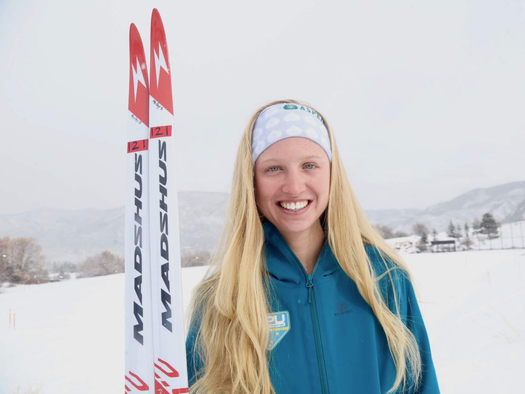 Cross-country skier Hailey Swirbul poses on Dec. 27, 2019, in Aspen. (Photo by Austin Colbert/The Aspen Times)