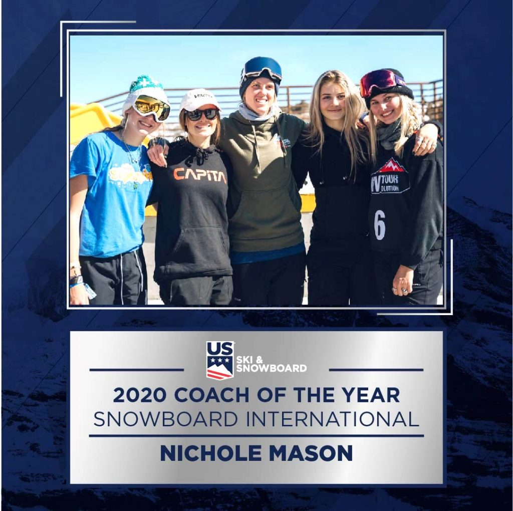 Former AVSC and current U.S. Ski and Snowboard coach Nichole Mason was recently honored by the organization as its coach of the year.