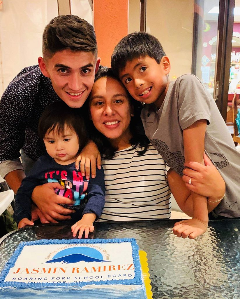 Jasmin Ramirez surrounded by her family. Ramirez won election to the Roaring Fork School District Board of Education in November. She is working to empower Latinos and Latinas in the valley.
